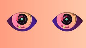 Two winking abstract eyes in the pink backdrop. A cheery 3d illustration of two artificial eyes with black pupils, rosy irises and blue retina. They look vector illustration