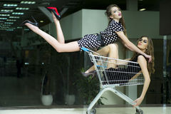 Two winning girls in shopping trolley. Horizontal picture with two young winning unusual girls with bright makeup and beautiful slim legs where one in short stock image