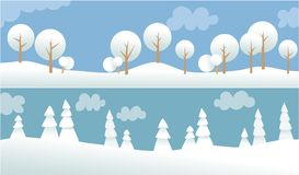 Two winter banners with white trees Stock Photos