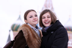 Two winter girls Royalty Free Stock Image