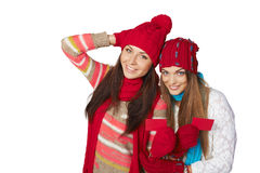 Two winter girls showing blank cards Royalty Free Stock Image