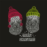 Two winter owls in warm hats Stock Photo