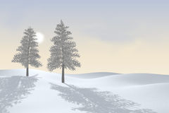 Two winter trees. 3D vector illustration
