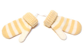 Two winter wool warm mittens. Two winter wool warm mittens on isolated background Royalty Free Stock Image