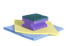 Two wipes and sponge Royalty Free Stock Image