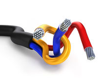 Two-wire multi-core cable in the black winding  on white Stock Photo