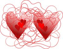 Two wired hearts Stock Image