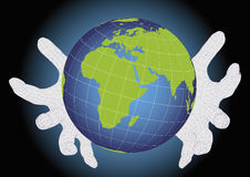 Two wireframe hands protecting earth planet Stock Photos