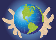 Two wireframe hands protecting earth planet Stock Photo