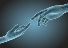Two wireframe human hands pointing one each other modern science Stock Image