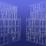 Two wireframe rendered buildings Stock Photos