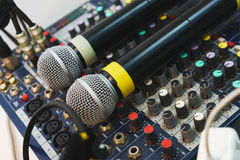 Two wireless microphones for host events on your DJ mixing console. Stock Image