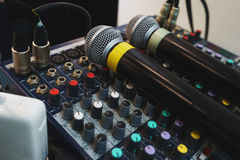 Two wireless microphones for host events on your DJ mixing console. Stock Photos