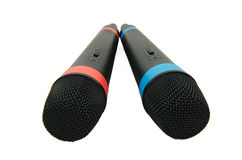 Microphones. Two wireless microphones isolated on a white background royalty free stock images
