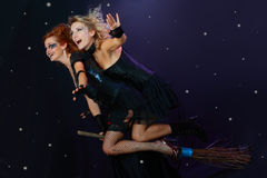 Two witches flying on broom. Two halloween witches flying on broom on a dark sky with stars stock image