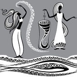 Two witches. Two graceful witches. Vector illustration Stock Photography