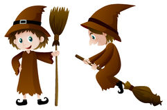 Two witches with magic broomstick Royalty Free Stock Photography