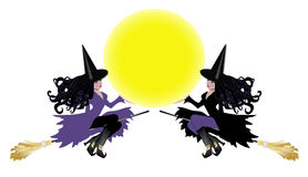 Two witches with moon insert Royalty Free Stock Photography