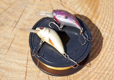 Two wobblers and fishing line Stock Photos