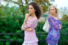 Two woman angry to each other Stock Images