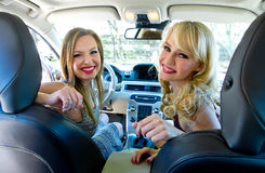 Two woman in the car Royalty Free Stock Photography