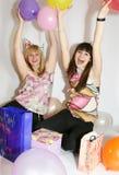 Two woman celebrating birthday Stock Photos