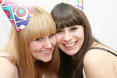Two woman celebrating birthday Royalty Free Stock Images
