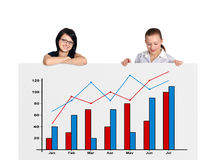 Two woman and chart Stock Photography