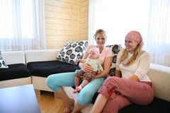 Two woman with child Stock Photography