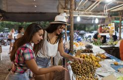 Two Woman Choosing Exotic Fruits On Tropical Street Market Young Female Tourists On Asian Bazaar. Two Woman Choosing Exotic Fruits On Tropical Street Market Royalty Free Stock Images