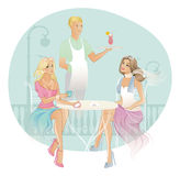Two woman in coffee house Royalty Free Stock Photo