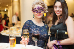 Two woman on costume party Royalty Free Stock Photography