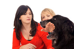 Two Woman and Dog Royalty Free Stock Image