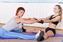 Two woman doing stretching Stock Photography