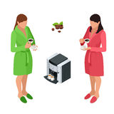 Two woman drinking coffee at home. Flat 3d vector isometric illustration. Royalty Free Stock Image