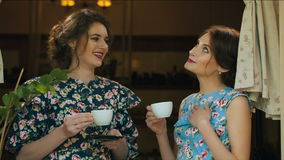 Two woman drinking tea and talking. Two talktive woman drinking tea stock footage