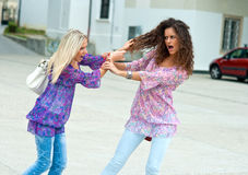 Two woman fight each other Stock Images