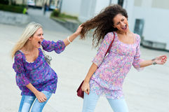 Two woman fight each other Royalty Free Stock Photos