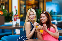 Two woman friends drinking juice in bar Royalty Free Stock Photography