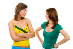 Two woman friends have an argue Stock Photo