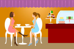 Two Woman Friends Having Coffee. Two Woman Lady Friends Having Coffee at Cafe Cake Pastry Shop Illustration Royalty Free Stock Image