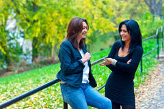 Two woman friends outside Stock Photo