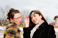 Two  woman with glasses in the park Royalty Free Stock Images