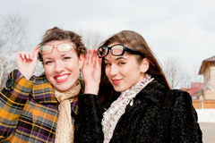 Two  woman with glasses in the park Royalty Free Stock Photo