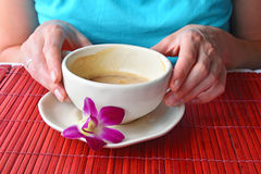 Two woman hands holding coffee cup with flower Royalty Free Stock Photography