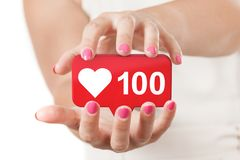 Two Woman Hands Protecting Red Social Media Network Love and Like Heart Icon. 3d Rendering. Two Woman Hands Protecting Red Social Media Network Love and Like royalty free stock photography