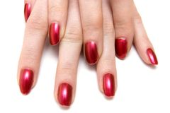 Two woman hands with red nails Stock Image