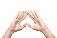 Two woman hands up Stock Images