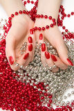 Two Woman Hands With Glassbeads Royalty Free Stock Photography