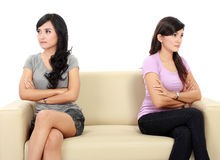 Two woman hates each other Stock Photography